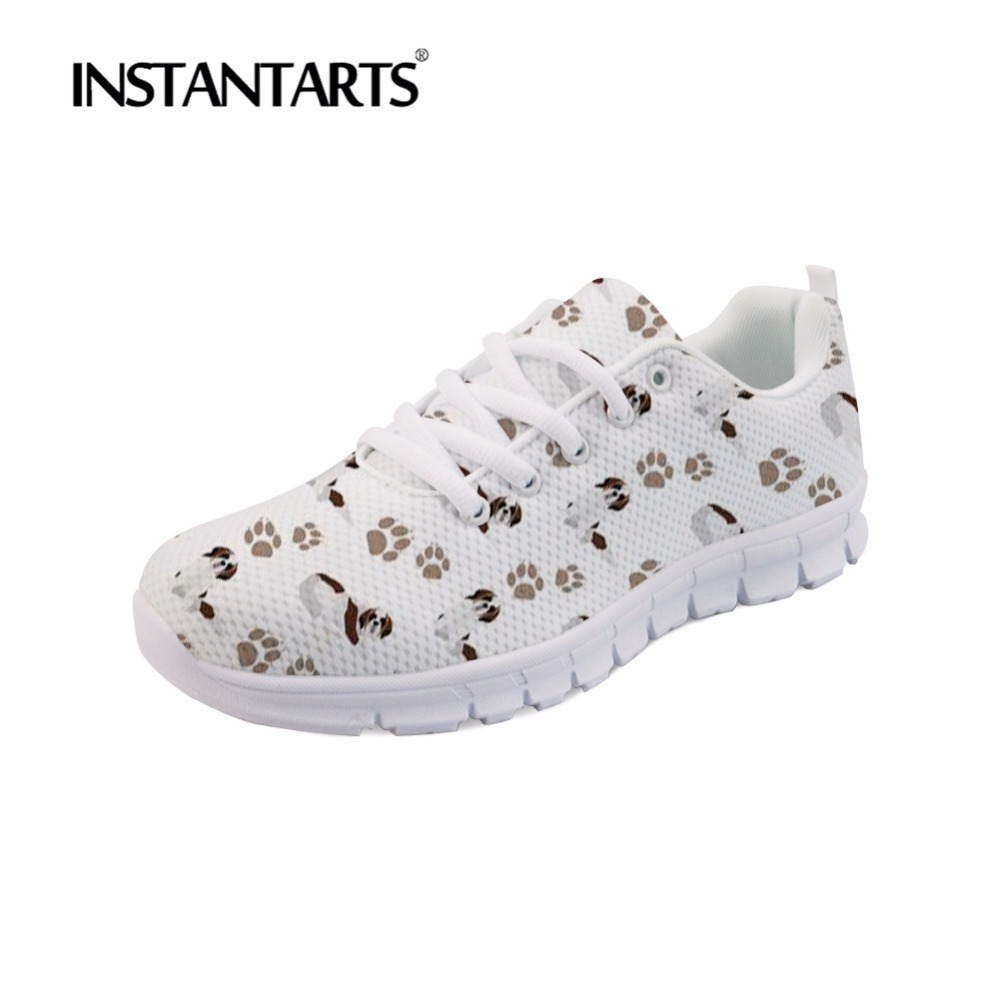 INSTANTARTS White Cute Dog Sneakers Saint Bernard Print Women Breathable Autumn Mesh Lace Up Casual Flat Shoes Ladies Shoes Girl