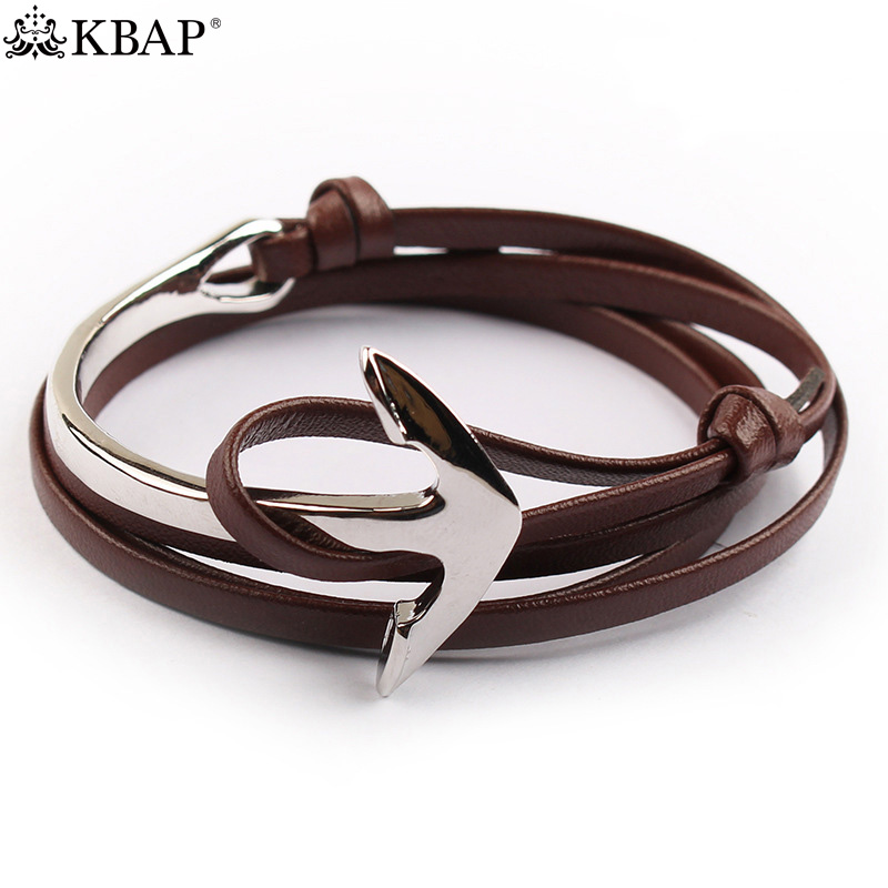 KBAP Women Mens PU Leather Bracelet Bangle Cuff Cord Silver Anchor Wrist