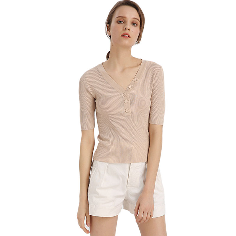 Women Button Trim V-Neck Knitting Shirt Elastic Tight Rib Knit Sweater Slim Bottoming Shirts Thin Short Sleeve Knitwear Jumper
