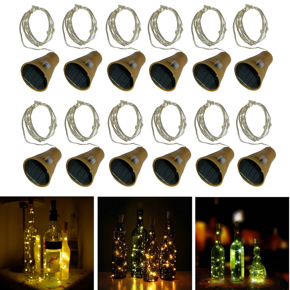 10leds 15leds 20leds Solar Powered Wine Bottle Lights Christmas Cork Fairy Light LED Copper Wire Garland Fairy String Lights(China)