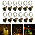 10 светодиодов 20 светодиодов солнечные светильники в форме винных бутылок Рождественская пробковая Фея светодиодная медная проволока нару...