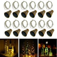 1Pcs Solar Wine Bottle Lights 10/20 LED Solar Cork String Light Copper Wire Fairy Light for Holiday Christmas Party Wedding