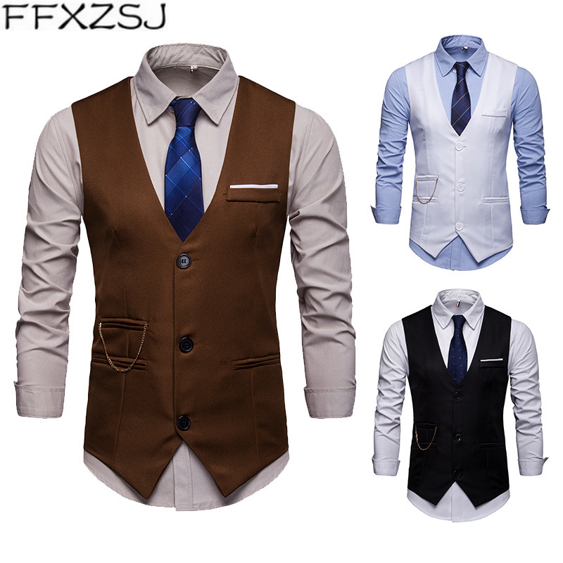 Ffxzsj Brand 2019 Europe Edition Men's Accessories Match Nightclub Suit Waistcoat Suit Vest Vest Men Waistcoat Men Slim Fragrant (In) Flavor