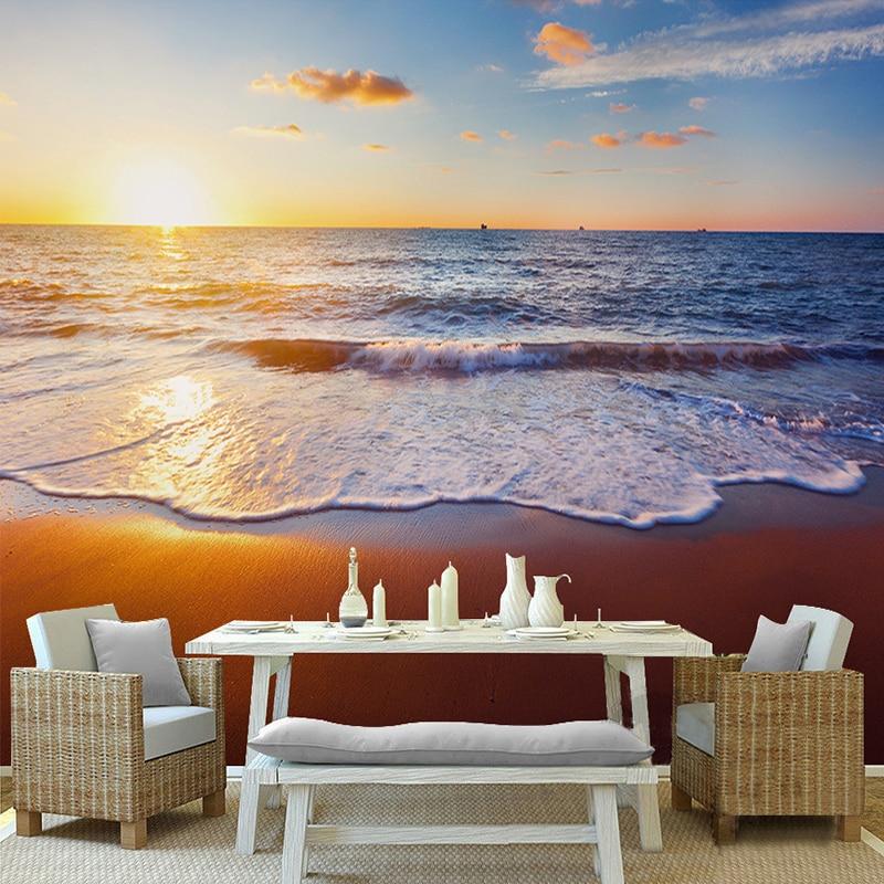 Fantasy Landscape Wallpaper: Sunset Sea Surf Beach Fantasy Landscape 3D Stereo