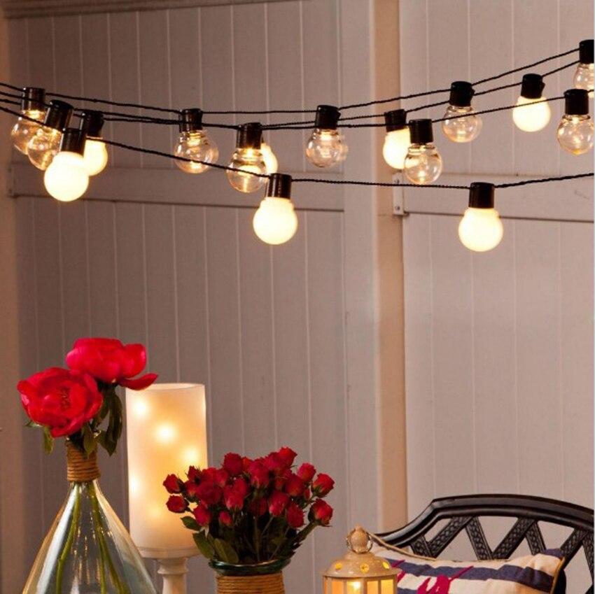 Image 2 - 10m 38 led globe bulb string fairy light christmas light G45 5m 10m wedding party led fairy string light festoon garland outdoor-in LED String from Lights & Lighting