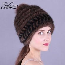 JOOLSCANA winter hats for women fur pompom caps russian fur cap women winter beanie russia woman hat genuine mink knitted