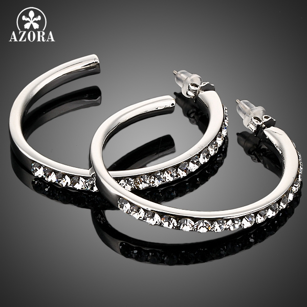 AZORA White Gold Color Stellux Austrian Crystal Round Design Hoop Earring TE0007