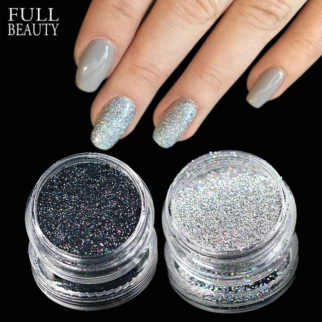 Full Beauty 2 Boxes Laser Shimmer Nail Glitter Silver Black ...