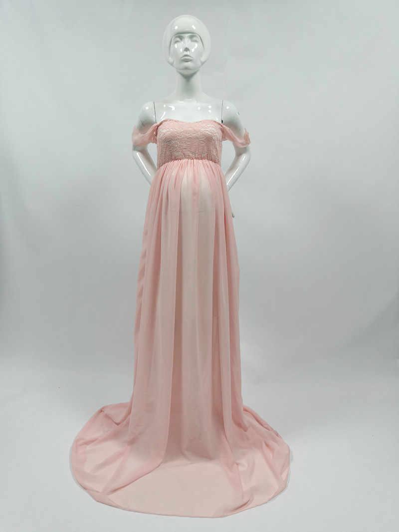 Kaymaz Kayış Bebek Duş Elbiseler Annelik Fotoğraf Sahne uzun elbise Hamile Şifon Maxi Elbise Hamile Elbisesi