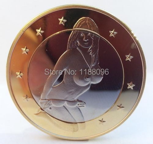 Wholesale Top Quality custom Sex Euro Coin Topless Girl Nude Sexy Hot Gold Silver Lucky Token Unique cheap custom Smooth Coins