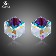 AZORA Charming Attractive Gradual Change Stellux Austrian Crystal Cube Stud Earrings TE0160(China)