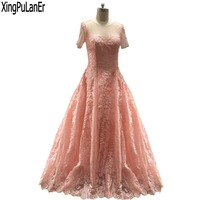robe de soiree Ball Gown O Neck Short Sleeve Lace Appliques Sheer Illusion Top Pink Lace Luxury Formal Party Evening Dress