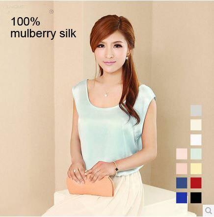 Новый женский шелковый жилет 100% шелк плюс размер жилет много цветов основные свободные рукавов шелковый топ для женщин D33C6500