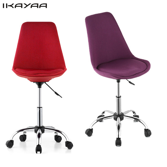 Gentil IKayaa Fashion Adjustable Office Chair 360 Swivel Pneumatic Study Computer Task  Chair Shell Stool Red/