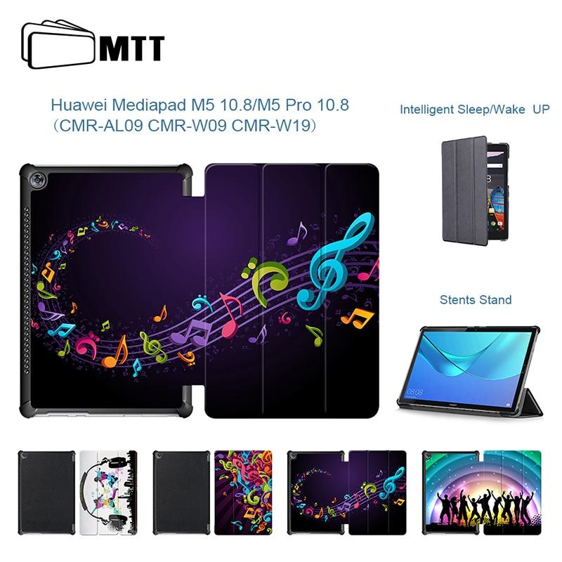 Musica Da Ballo Per Il Caso Di Huawei Mediapad M5 10.8 Del Basamento Di Piegatura Pu Custodia In Pelle Della Copertura Di Vibrazione Per Huawei M5 Pro 10.8 Pollice Tablet Funda