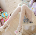 Sweet New Arrival Thin White/Purple/Pink Flower Jacquard Lace Women's Pantyhose Girl's Tights for Spring & Summer