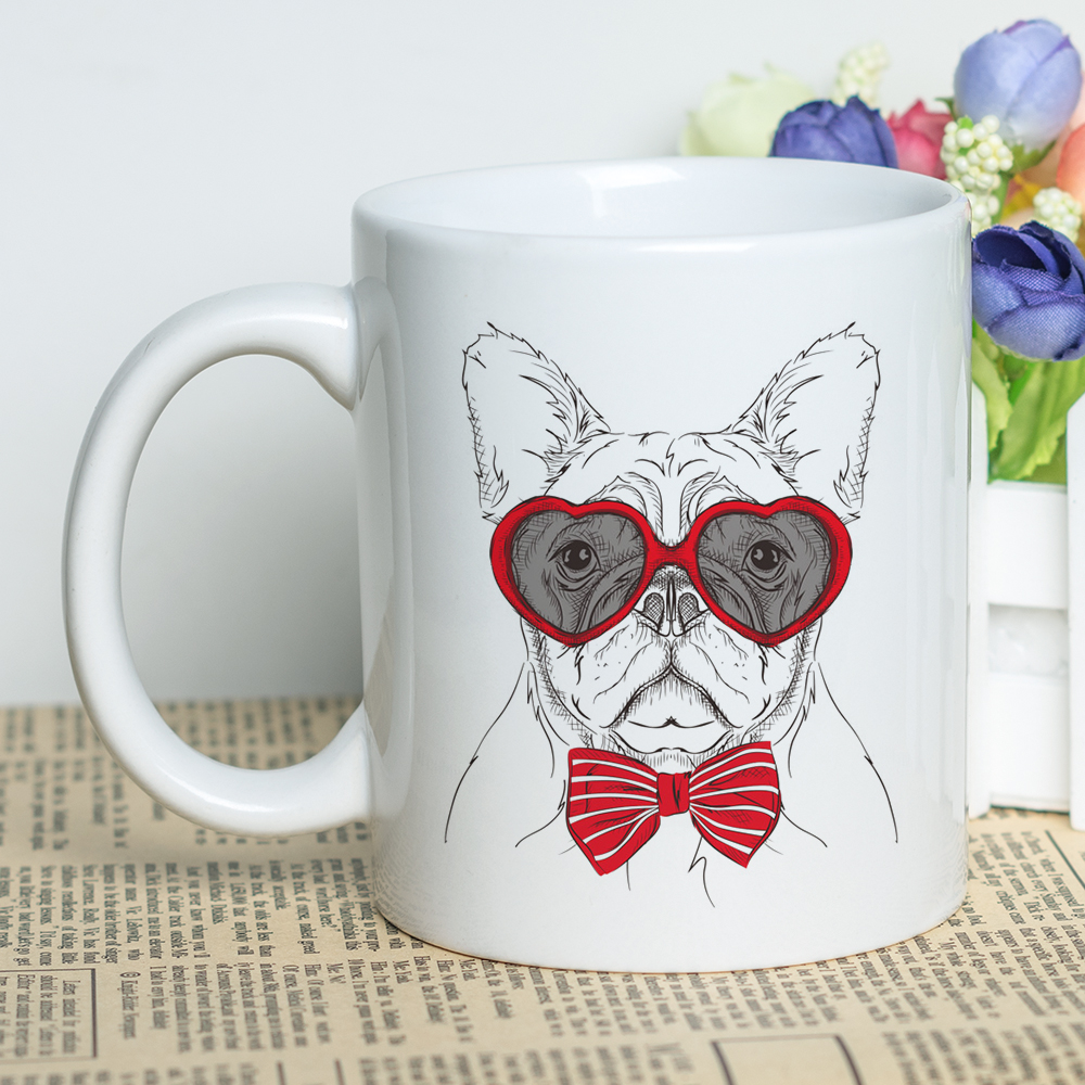 Cool Animals Themed Cup Kawaii 11oz Classic Ceramic Coffee Mug Cute Dogs Cats Design Tea Cup with Cool Printing in Mugs from Home Garden