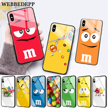 WEBBEDEPP M&Ms Chocolate Glass Phone Case for Apple iPhone 11 Pro X XS Max 6 6S 7 8 Plus 5 5S SE