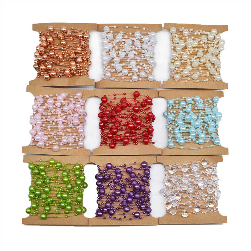 5 Meters Artificial Pearls Beads Chain Garland  Fishing Line for Decor Flowers Bridal Bouquet Wedding Event Party Supplies