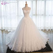 Waulizane Mewah Kerajaan Kereta Penuh Lengan Ball Gown Wedding Dress Appliques Beaded Berpayet Scoop Neck 2017 Gaun Pengantin Plus Ukuran