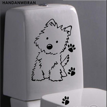 1PCS cute dog toilet sticker wall home glass decoration supplies+FREE SHIPPING