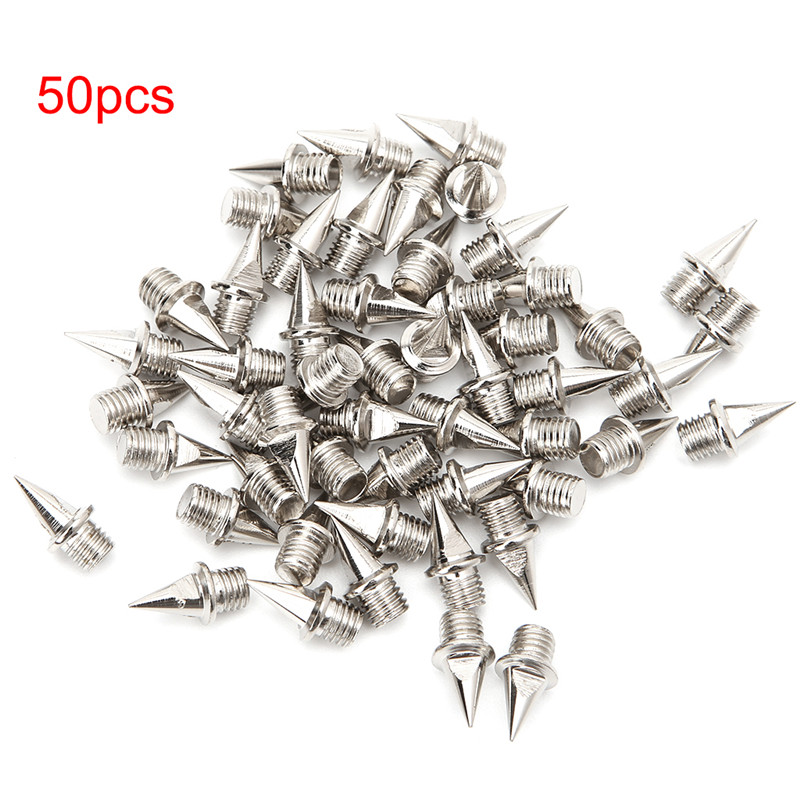EYKOSI 50Pcs Spikes Studs Replacement Track Shoes Sports Running Screwback Silver 7.8mm/9mm