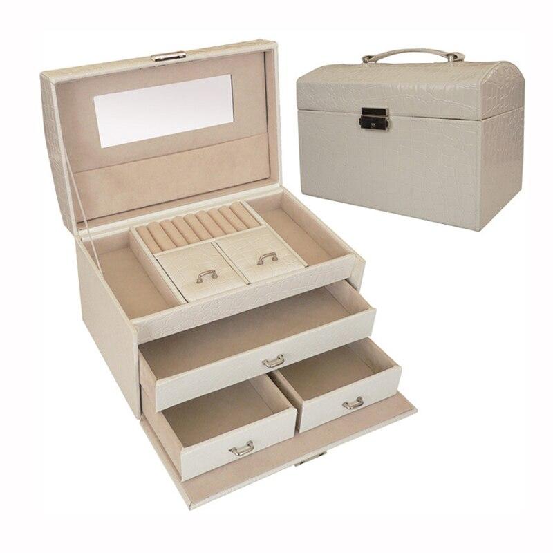 купить 24x16x16.5CM Jewelry Box Portable Travel Organizer Jewelry with Mirror Leather Jewelry Storage Case Jewelry Display Drawers Box по цене 4170.97 рублей