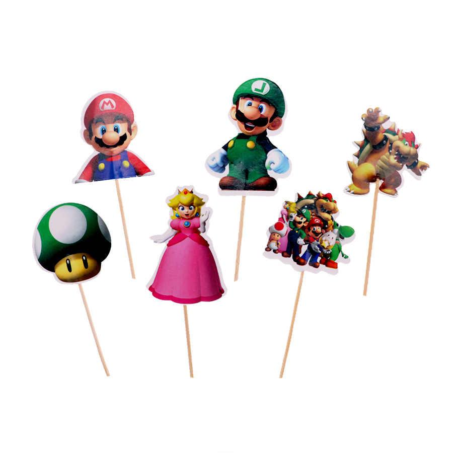 24Pcs Decoração do bolo Mario Castelo tema Bolo topper com sobremesa bolo de Casamento decorações Da festa de Aniversário do partido dos miúdos fornecedor