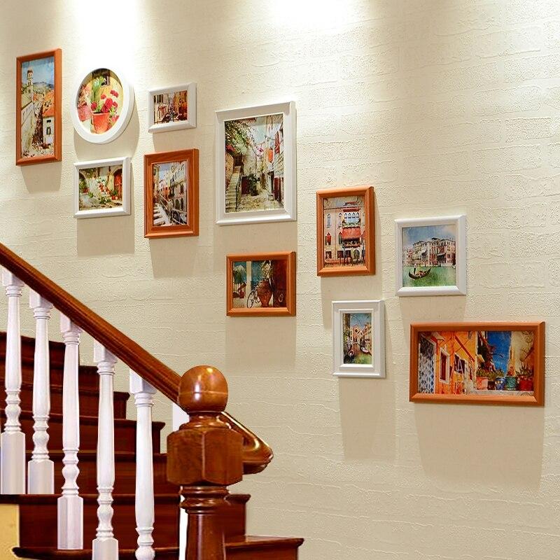 ensemble de cadres photo en bois design pour mur d escalier blanc et marron 11 pieces