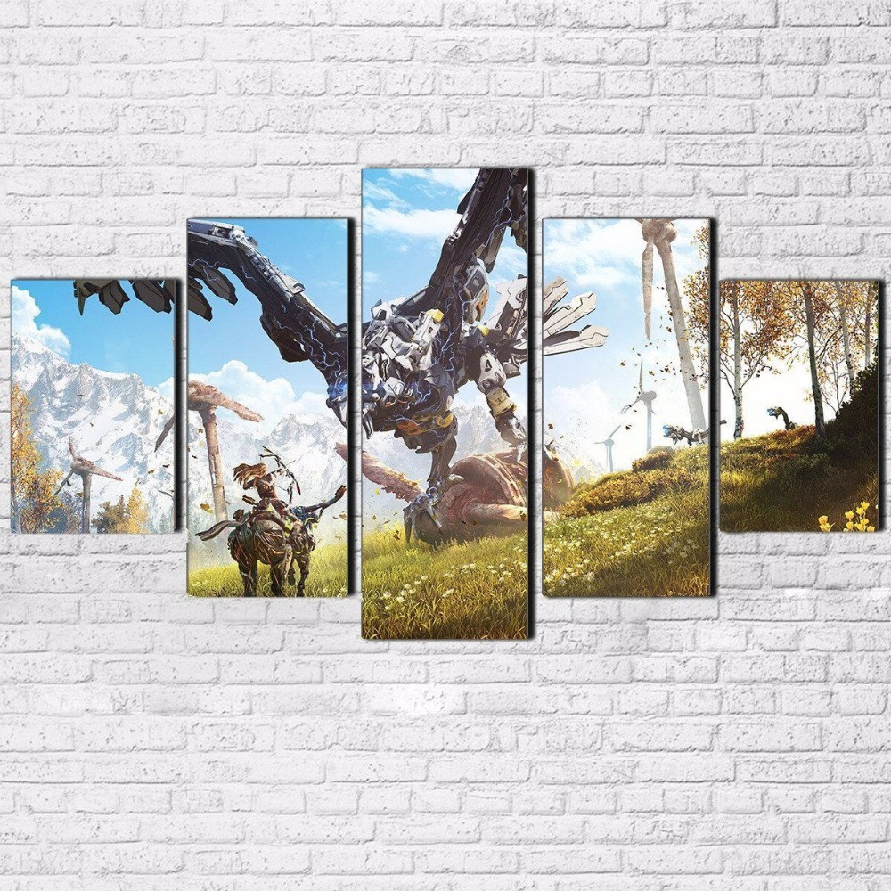 Canvas HD Prints Pictures For Living Room Home Decor 5 Pieces Horizon Zero Dawn Paintings Modular Wall Art Game Poster Framework