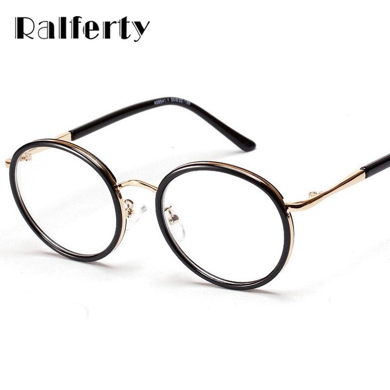 Ralferty Round Frame Eyeglasses Clear Lens Vintage Women Eyeglass Frames For Optical Degree Glasses Eyewear oculos de grau 5854