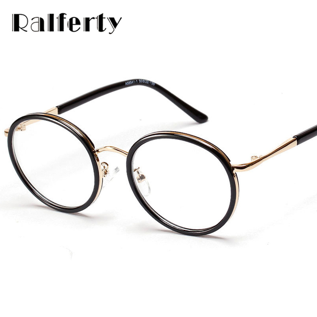 dbf135c23b Ralferty Round Frame Eyeglasses Clear Lens Vintage Women Eyeglass Frames  For Optical Degree Glasses Eyewear oculos de grau 5854