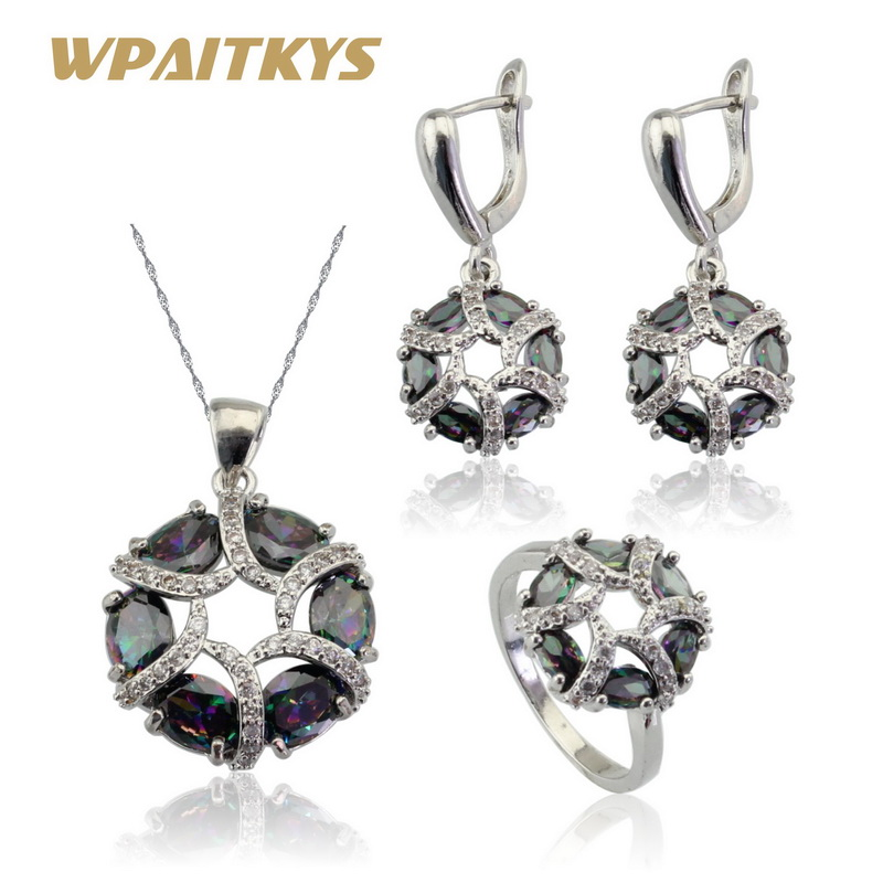 wpaitkys multicolor rainbow cubic zirconia silver color jewelry sets for women necklace pendant
