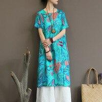 ORIGOODS Flower print Women Summer Dress Ramie Natural fabric High slit Chinese style Dress Fashion Brand New Dress A340