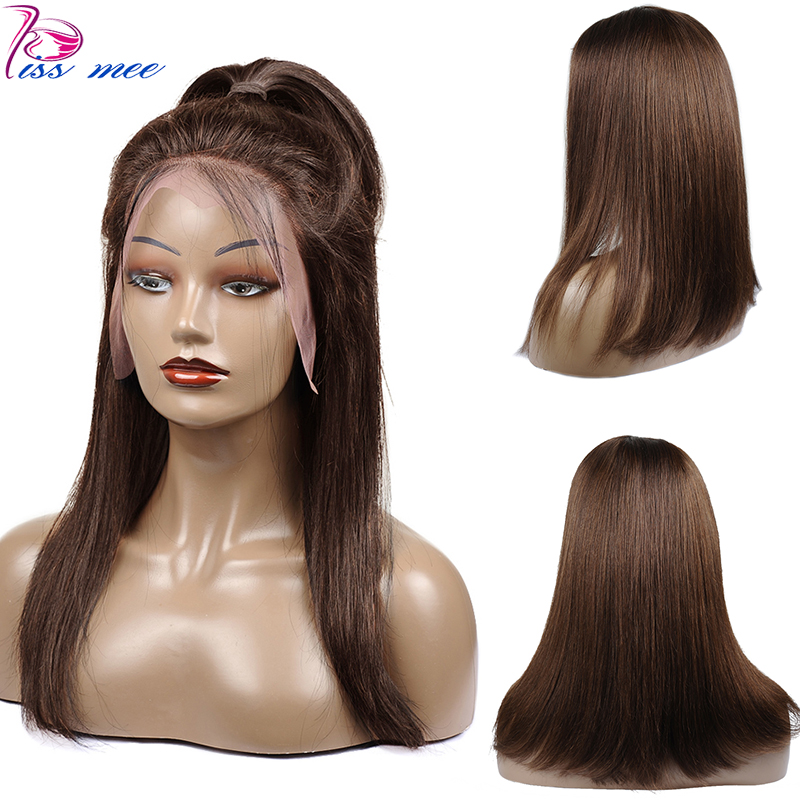 Kissmee 13*4 Light Brown Lace Front Wig Human Hair Lace Closure Wigs For Black Women Color 4 Brazilian Straight Frontal Remy Wig