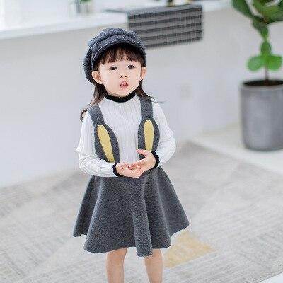 2017 Новинка осени для девочек волосатые ремень ребенка заячьи ушки уха платье