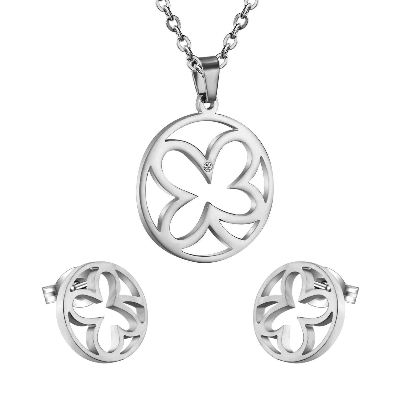 Populares Lucky Trébol de Cuatro hojas Pendientes Con El Collar Pendiente de Las