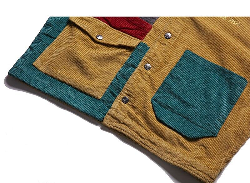 Aolamegs Jacket Men Corduroy Patchwork Men`s Jacket Pockets High Street Fashion Casual Outwear Men Coat 2018 Autumn Streetwear (6)
