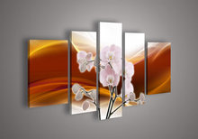 5 Panel Wall Art No Framed Modern Abstract Acrylic Flower Red Orange Orchid Oil Painting On Canvas Hand Painted Prints