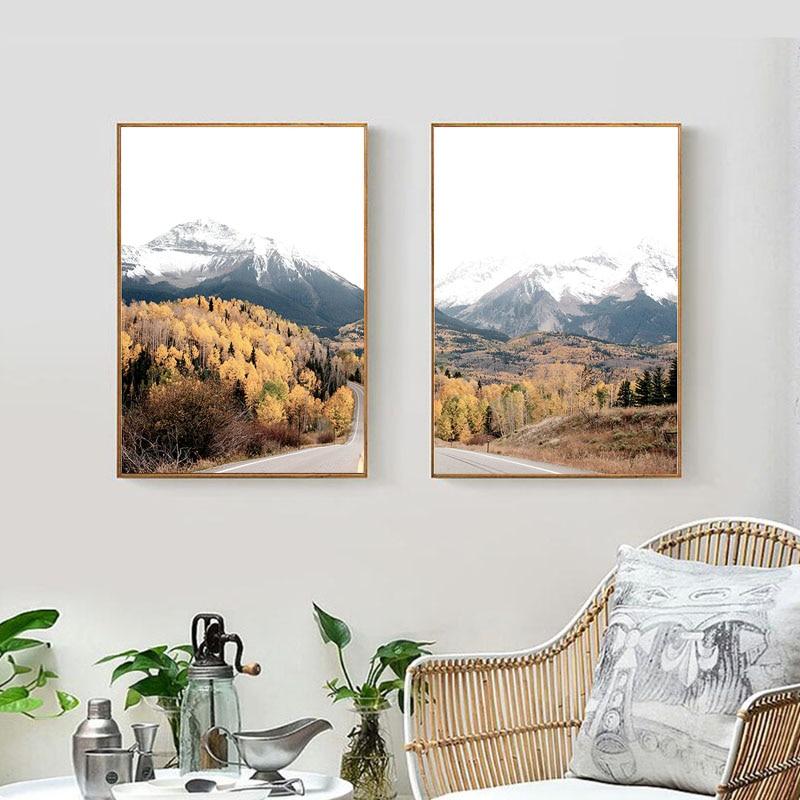 Floresta arte da parede preto branco pintura em tela paisagem cartazes e impressões fotos para sala de estar cuadros decoracion salão beleza