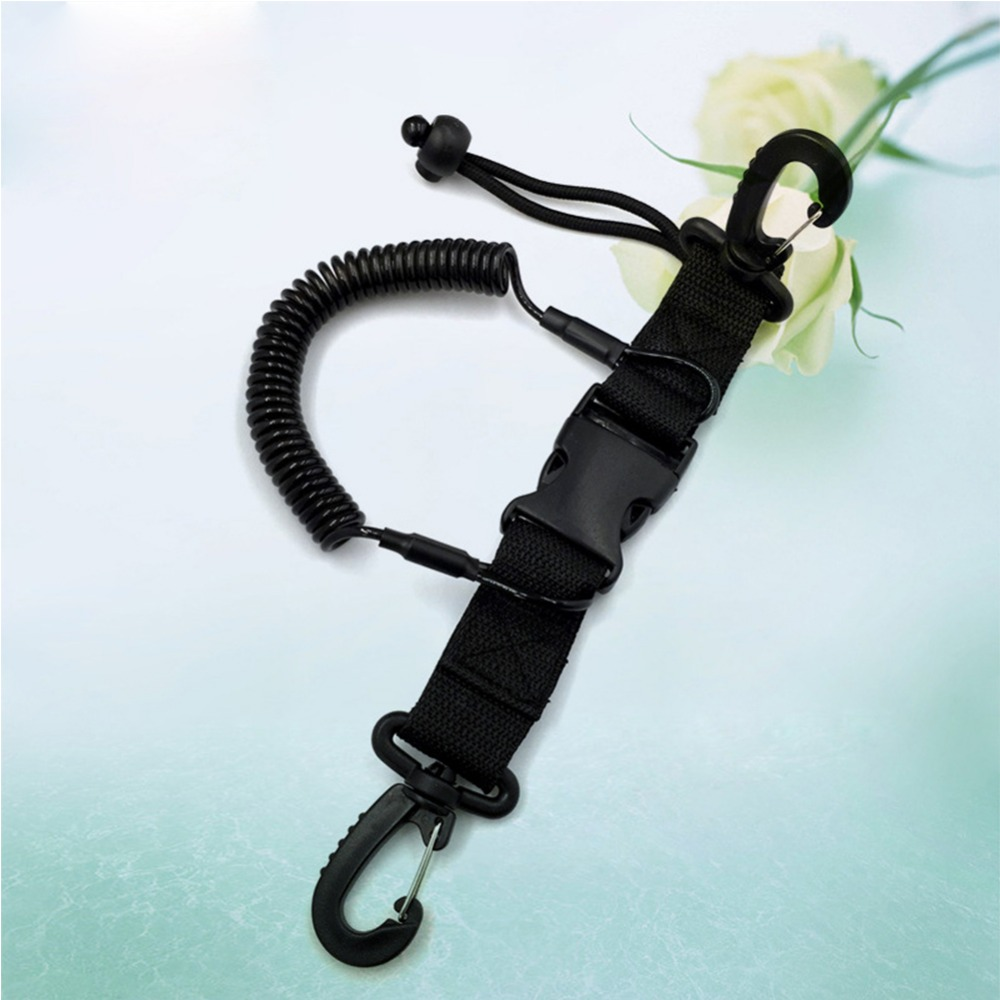 Mounchain Diving Equipment Camera Spring Coil Lanyard With Clips & Quick Release Buckle