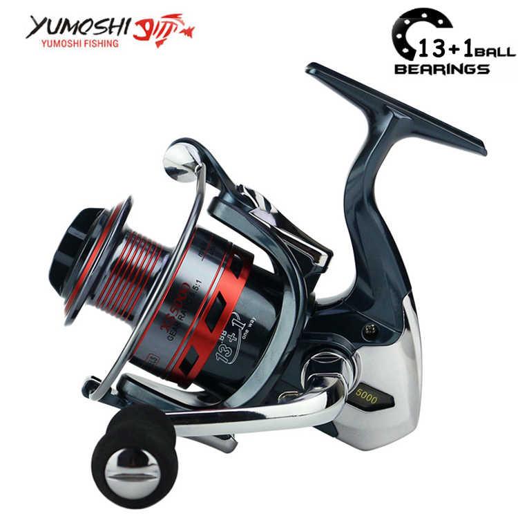 Yumoshi 13 + 1 الكرة تحمل العجلات الساخنة أرخص الغزل بكرة الصيد بكرة 1000-8000 بكرات molinete carretilhas دي pesca