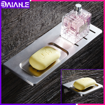 Soap Holder Shower Aluminum Lengthen Soap Dish Drain Bathroom Soap Dishes Rack Basket Wall Mounted Cosmetic Shampoo Shelf Tray free shipping solid brass orb oil rubbed bronze bath form bathroom holder soap dishes wall mounted holder rack