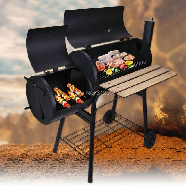 Black Portable Charcoal Bbq Grill Burner Outdoor Barbecue Oven Camping Cooking Offset