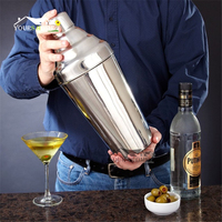 1.8L Big Cocktail Shaker Polish Silver 304 Stainless Steel Boston Shaker: 3 piece Sets