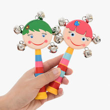 1pcs cute Wooden stick Rainbow Hand Shake bell Baby toy Rattles Jingle bells Infant Shaker Rattle ring educational toy gift(China)