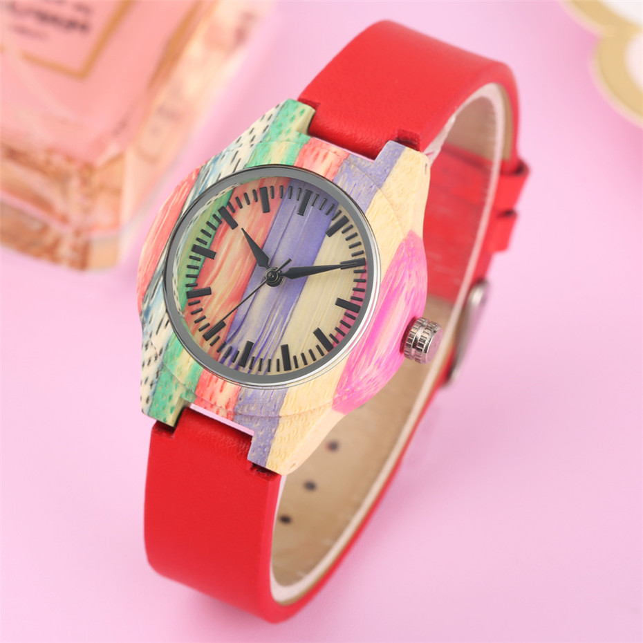 New Arrival 2019 Ladies Watch Rainbow Wooden Case Black Scale Display Red PU Leather Wristwatch Trendy Womens Watches BuckleNew Arrival 2019 Ladies Watch Rainbow Wooden Case Black Scale Display Red PU Leather Wristwatch Trendy Womens Watches Buckle
