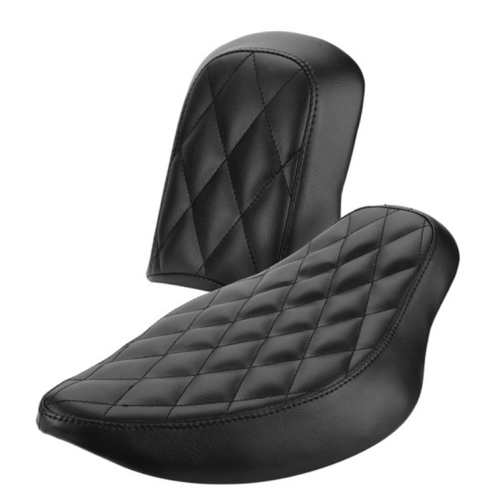Motorcycle Black Artificial Leather Diamond Stitched Driver&Rear Passenger Seat For Harley Sportster XL 883/1200 2004-2015