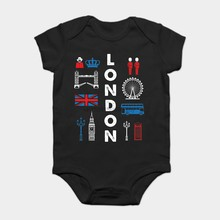 Baby Onesie Baby Bodysuits kid t shirt Funny Cool London England UK Big Ben Flag Bus Crown Phone Box(China)