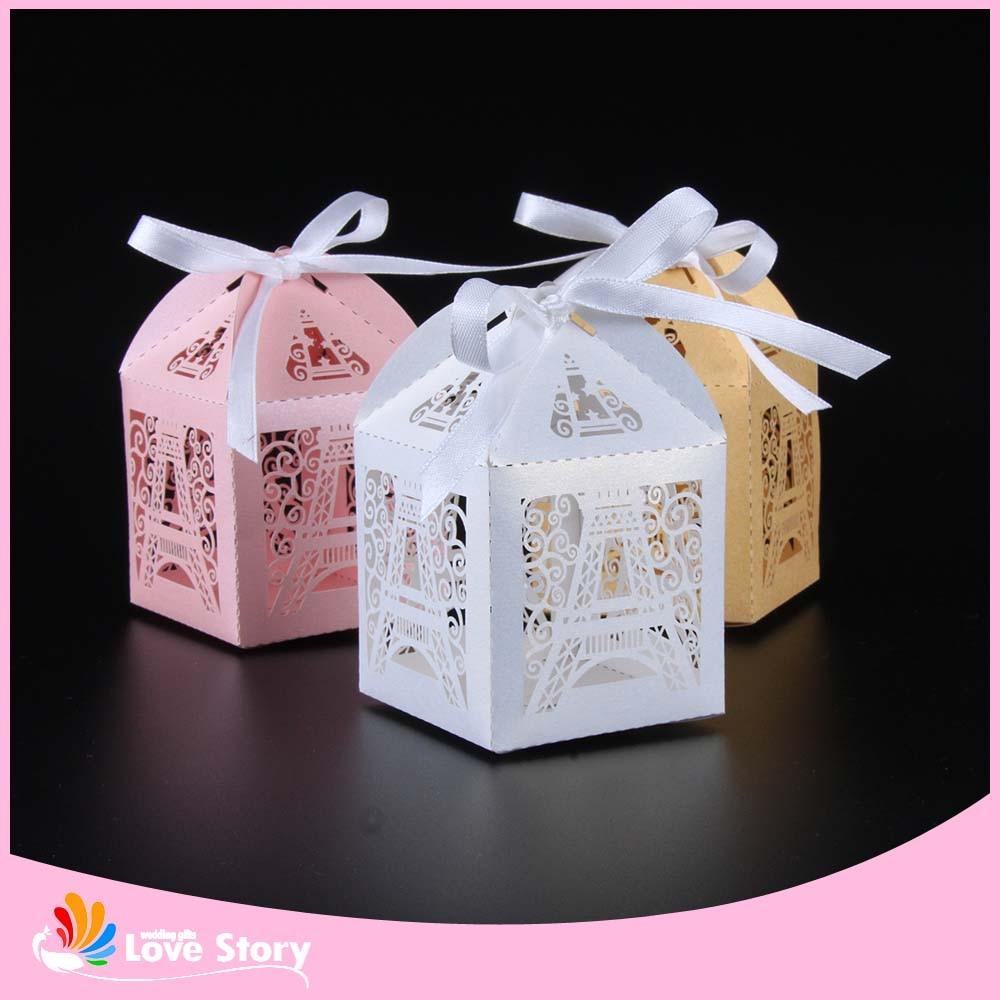 50pcs Eiffel Tower Laser Cut Candy Box Wedding Favor Box Party Favors Gift Bo